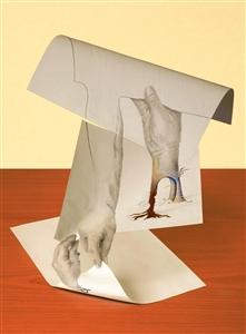 """Die Drei Hände Digital Assemblage on Aluminum 16"""" x 12"""""""