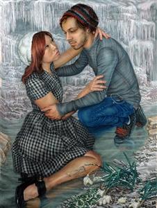 "confrontation, helpful embrace? Oil on Linen 48"" x 36"""