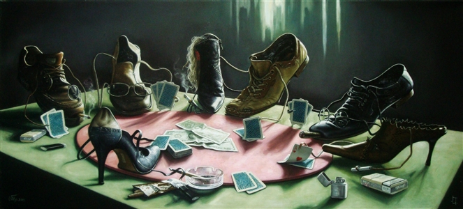 """""""the whole life of the game"""" Oil on Canvas 19.69"""" x 39.37"""""""