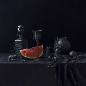 """Still Life in Black with Watermelon / second variation Archival Pigment Print 20"""" x 20"""""""
