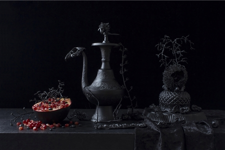 Still Life in Black with Pomegranate / second variation