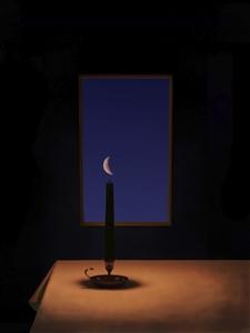 """Das Nachtlicht  (Night-Candle) Digital Assemblage on Aluminum 16"""" x 12"""""""