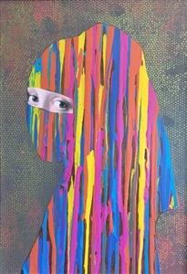 "La Joven del Niqab Acrylic & Collage on Board 23"" x 33"" x 5"""