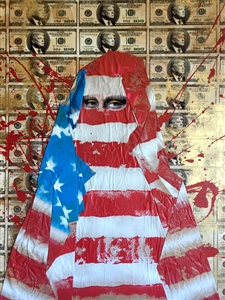 "Mona Flag Acrylic & Mixed Media on Board 50"" x 70"" x 3"""