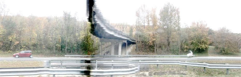 "MemoryPanoScape Automobile Asheville USA 2018 Digital on Plexiglass 19"" x 6"""