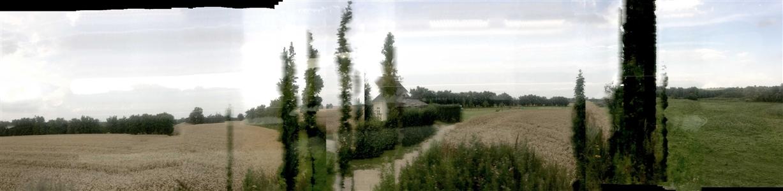 "MemoryPanoScape Train Fyn, Ejby, Denmark 2017 Digital on Plexiglass 25"" x 6"""