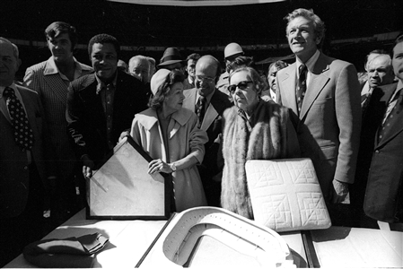 Last Precious Days of Yankee Stadium-Mayor Lindsay with Mrs. Ruth and Mrs. Gehrig-Oct. 1 1973