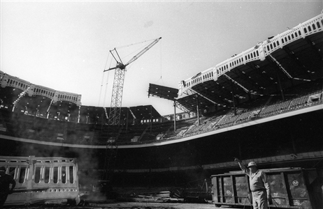 "Last Days of Yankee Stadium-Removing The Copper Frieze-Nov., 1973 Archival Pigment Print 27.8"" x 40"""