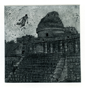 """Volando Arriba del Caracol Etching on Hahnemuhle Paper 17"""" x 17"""""""
