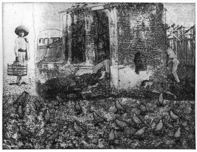 """El Pajarero y Los Cuervos Etching on Hahnemuhle Paper 19"""" x 22"""""""