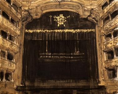 "Boca de Cena_Cena Aberta Oil & Gold Leaf on Canvas 31.5"" x 39.5"" x 2"""