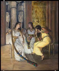 """Egyptian Musicians Giclee Print on Cotton Rag Paper 36"""" x 30"""""""