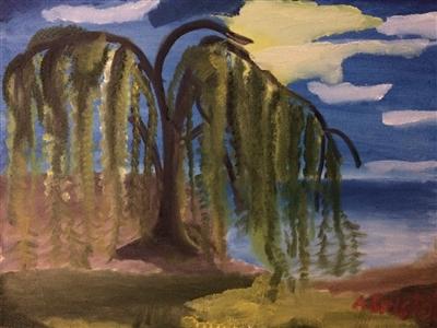 """Willow tree lake Oil 18"""" x 24"""""""