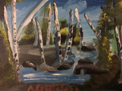 """Birch tree forest Oil 18"""" x 24"""""""