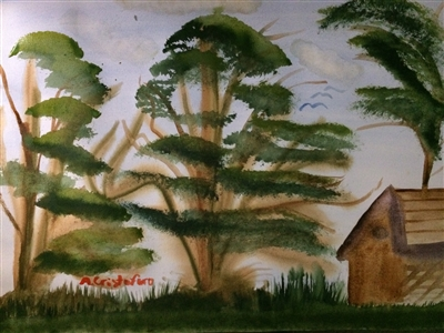 """Summer trees Watercolor on Paper 18"""" x 24"""""""