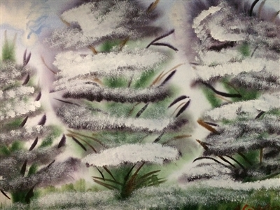 """Winter trees Watercolor on Paper 18"""" x 24"""""""