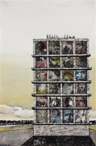 """Stacked Collage & Mixed Media on Canvas 41.5"""" x 27.5"""""""