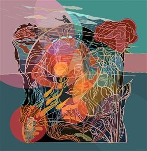 "My Sun Shower Goddess Digital Print 20"" x 20"""