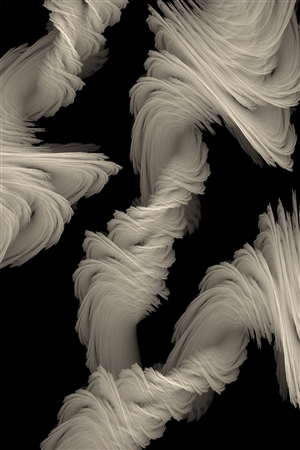 GK AUSTIN II - Flowing Fractal Flame on White Aluminum, Digital Art