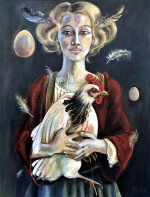 Clara de Bobes - Katherine and the Chickens Acrylic & Oil on Canvas, Paintings