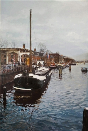 Jesus Monge - Muelle del Hermitage Oil on Canvas, Paintings