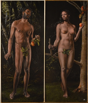 Jesus Monge - Adam and Eve - diptych Oil on Canvas Panel, Paintings
