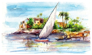 Amani Elbayoumi - Egyptian Nile Watercolor on Paper, Paintings