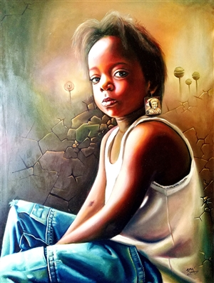 Chinemerem Omeh - Lost in Translation Oil on Canvas, Paintings