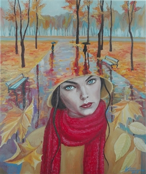 Helena Zyryanova - Autumn.Red Scarf Oil on Canvas, Paintings