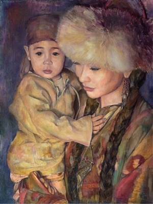 Aigerim Bektayeva - With My Son Oil on Canvas, Paintings